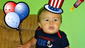 Spencer Rupp, 8 months, shows off some red, white and blue before heading to Riverfest in Milton.