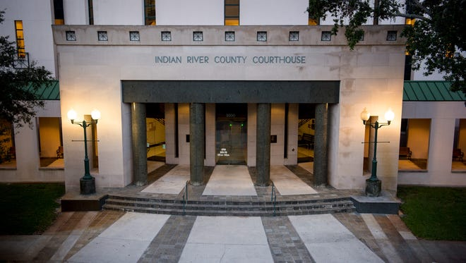 The Indian River County Courthouse is seen at dusk Tuesday, July 18, 2017, in downtown Vero Beach.
