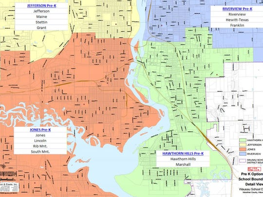 A map of the Wausau School District divided into four