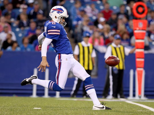 Punter Brian Moorman was among 10 players cut by the Buffalo Bills on Friday.