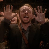 "Simon Pegg and Lake Bell in a scene from ""Man Up."""