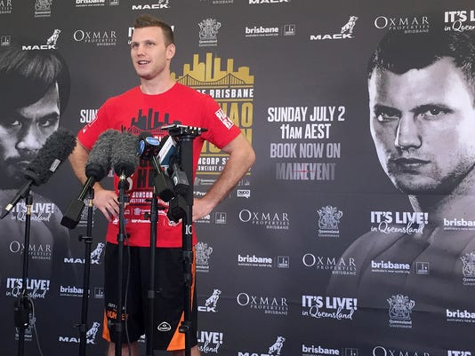 Boxer Jeff Horn speaks to the media in a gym in Brisbane, Australia, Monday, June 26, 2017. Horn is preparing for his WBO welterweight world boxing title bout against Filipino Manny Pacquiao on Sunday, July 2. (AP Photo/John Pye)