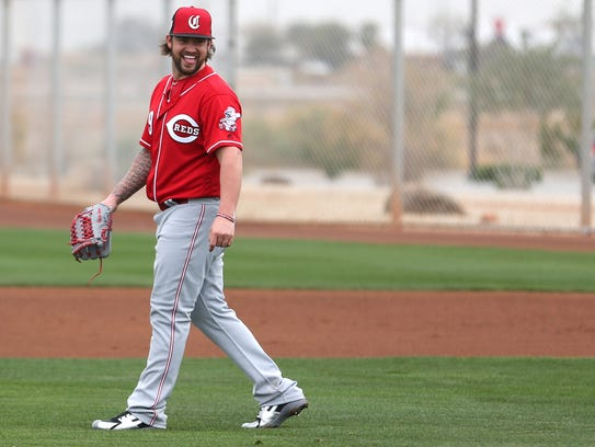 Cincinnati Reds pitcher Brandon Finnegan (29) laughs
