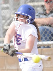 Abilene Cooper's Bridget Cloud hits the ball in the