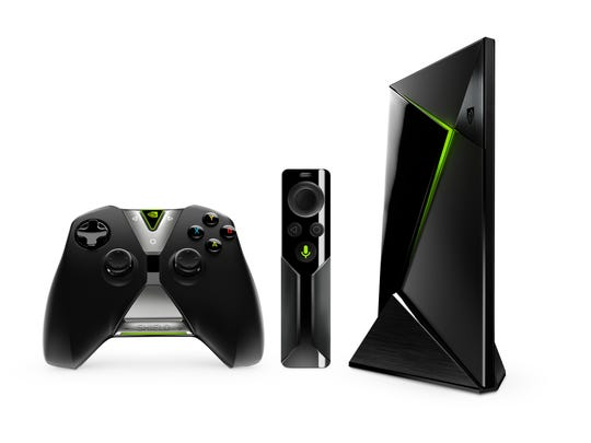 This photo provided by Nvidia shows the Nvidia Shield Android TV with Controller and Optional Remote Control.