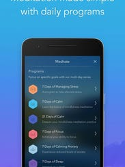 Calm lets you track your progress and choose a meditation