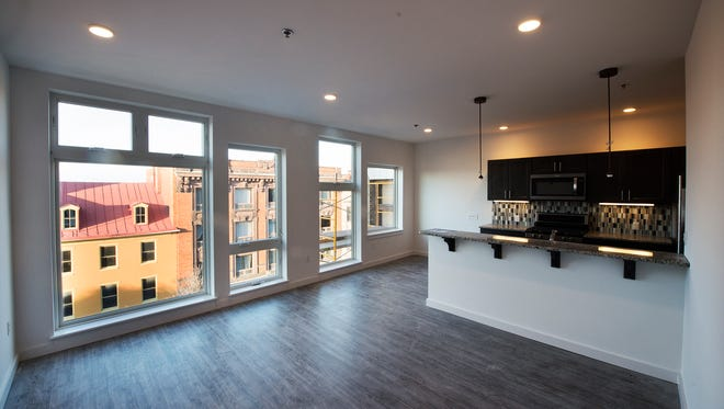 This is a view of a second-floor apartment overlooking West Market Street at 44 REVI Flats. Apartment rents will range from $750 to $2,000 per month.