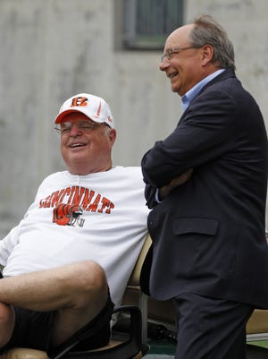Former Hamilton County Commissioner Bob Bedinghaus, right, was instrumental in helping secure the financing for Paul Brown Stadium and Mike Brown's Cincinnati Bengals.