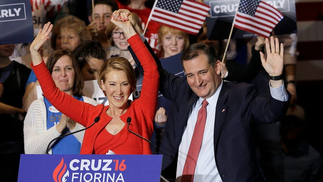 U.S. Sen. Ted Cruz tapped former GOP presidential candidate Carly Fiorina as his running mate Wednesday at a rally in Indianapolis.