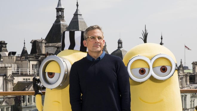 Steve Carell and the Minions attend a photo call in London to celebrate the release of DESPICABLE ME 3 on Friday.