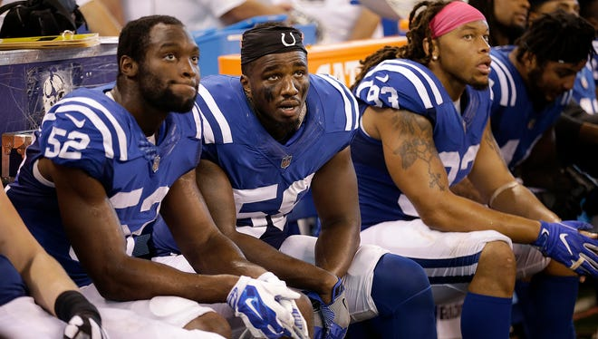 Dejected Colts players on the bench late in the second half of their game at Lucas Oil Stadium, Sunday, Oct 22, 2017. The Colts lost to the Jacksonville Jaguars 27-0.