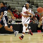 UL's Jaylyn Gordon (11) has been suspended indefinitely from the women's basketball team for a violation of team rules.