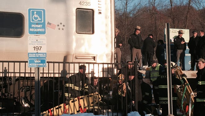 Rescue crews on scene at the Purdys station after a southbound Metro-North train hit a man about 4:20 p.m. Friday.