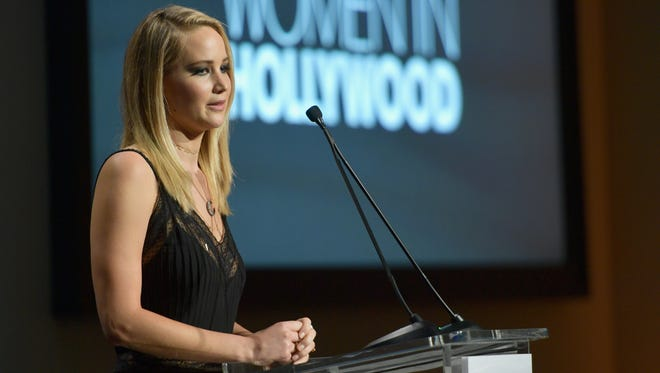 Jennifer Lawrence speaks at the Elle Women in Hollywood celebration at the Four Seasons Beverly Hills Monday night, sponsored by L'Oreal and Calvin Klein.