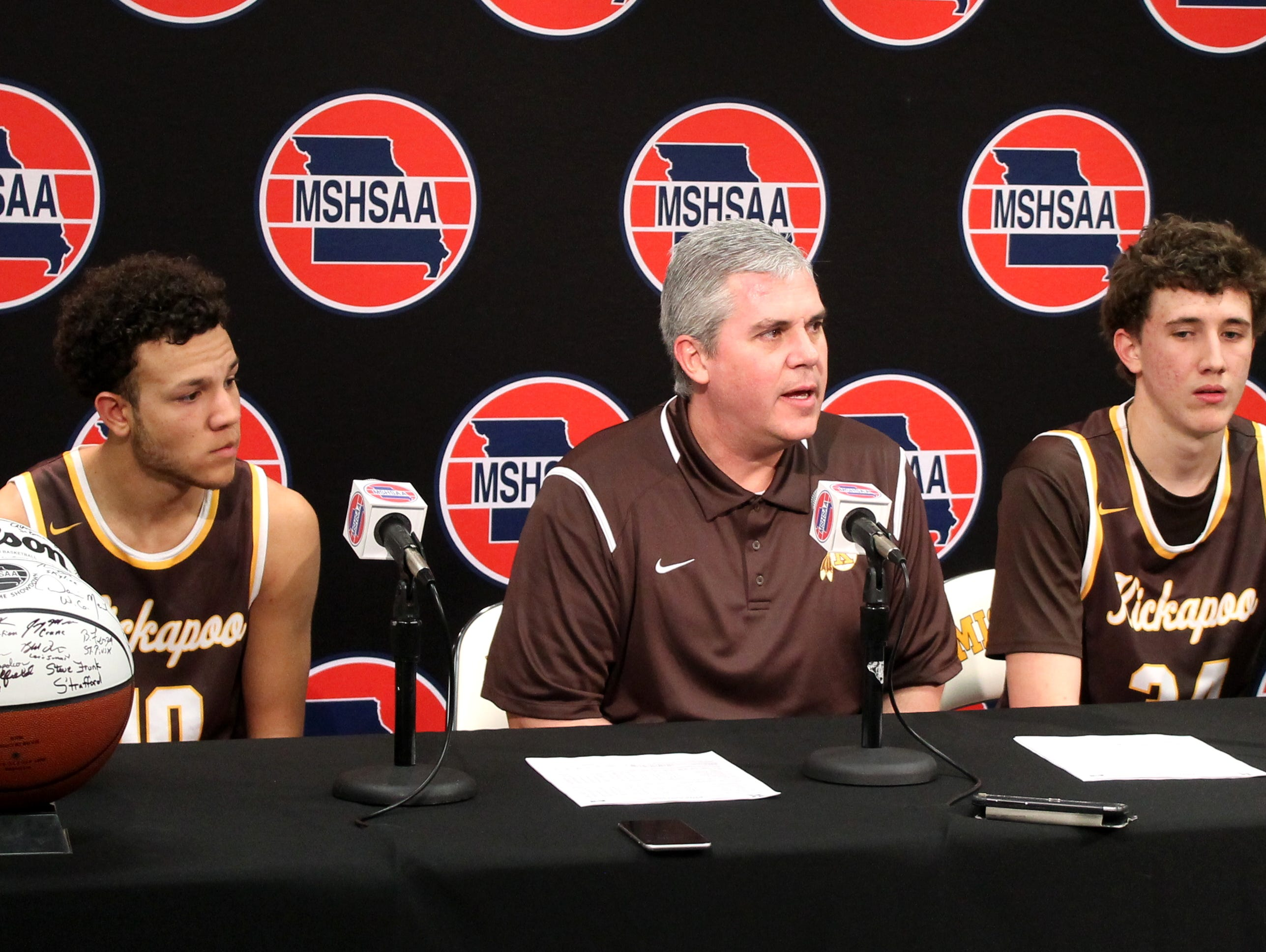 From left, Kickapoo senior Isaac Johnson, boys basketball coach Dick Rippee and junior Jared Ridder address reporters in the media room at Mizzou Arena moments after a 2016 semifinal playoff victory over Lee's Summit.