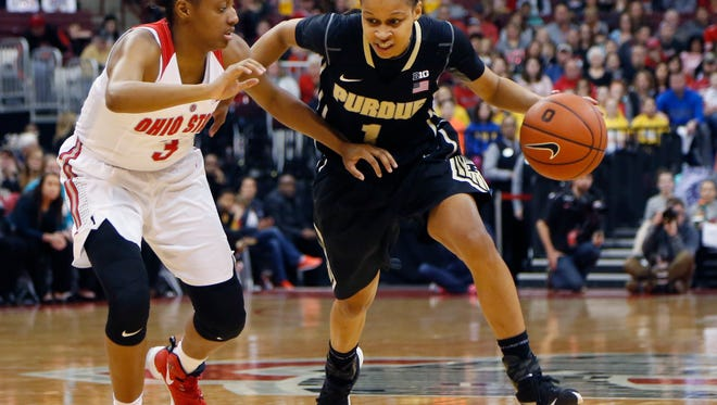 Junior Ashley Morrisette, right, has been one of the top scorers for Purdue, which is in the thick of the Big Ten race after a down season.