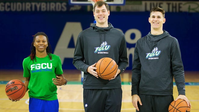 Keri Jewett-Giles, left, Ricky Doyle, center, and Mark Matthews have returned to play at FGCU after going away to play at other universities. Jewett-Giles starred at Dunbar High School, Doyle at Bishop Verot and Matthews at Fort Myers.