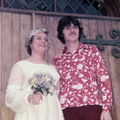 Diane Camm with Kevin Murtaugh on their wedding day