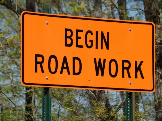 Begin road work ahead sign