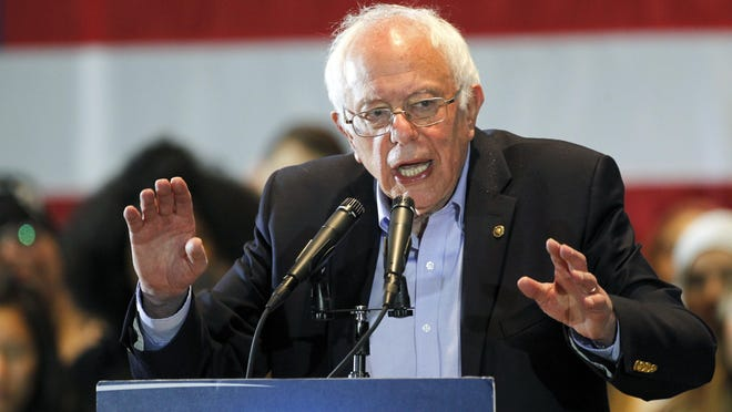 Democratic presidential candidate Bernie Sanders speaks May 24, 2016, at the Anaheim Convention Center in Anaheim, Calif.