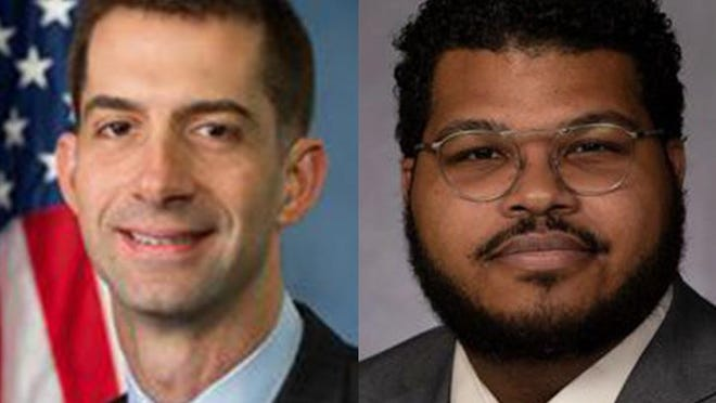 U.S. Senator Tom Cotton, R-AR, left, is running against Ricky Dale Harrington.