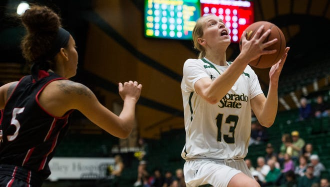 Ellen Nystrom of CSU moves in for a layup during a game against Incarnate Word at Moby Arena Tuesday. The Rams defeated the Cardinals 60-37.