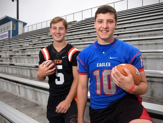 Tech quarterback Chris Backes and Apollo quarterback