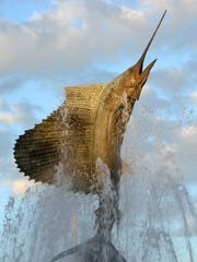 The Stuart Sailfish sculpture, created by artist Geoffrey Smith, is the centerpiece of downtown Stuart.