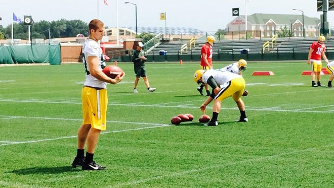Green Bay Packers receiver Jordy Nelson, left, sat out Monday's practice with a hamstring injury.