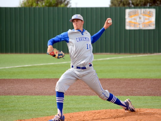 Carlsbad's Trevor Rogers fires a pitch in game one Friday at Hobbs.