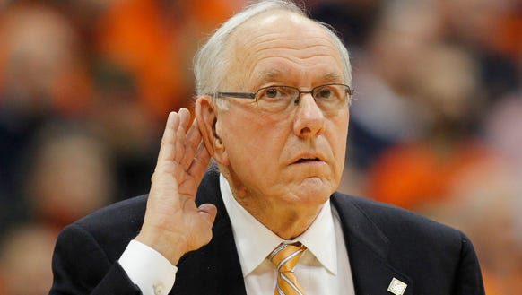 Syracuse head coach Jim Boeheim reacts to an official