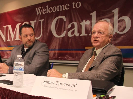 Rep. James Townsend (R-D54), right, speaks at the Candidate