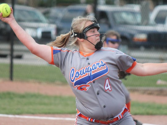 Garden City pitcher April Rudolph sends the softball