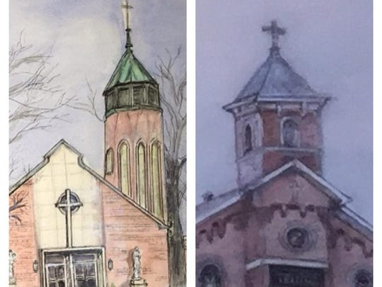 At Saturday's centennial celebration, St. Joseph Parish unveiled watercolor paintings of both the original, left, and modern churches by Charlene Vondermeuhlen.