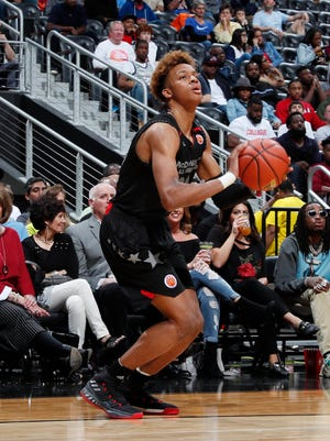 Mar 28, 2018; Atlanta, GA, USA; McDonalds High School All American East forward Romeo Langford (22) takes a shot during the McDonalds High School All American Game at Philips Arena.