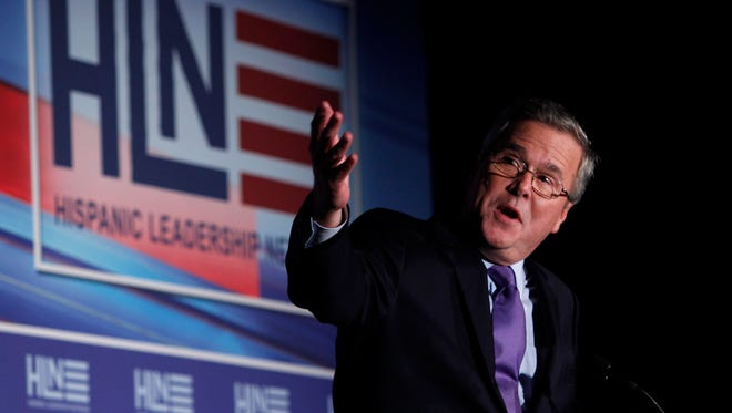 Former Gov. Jeb Bush speaks at the Hispanic Leadership Network's conference, Thursday, Jan. 26, 2012 in Miami. He will address a national meeting of Hispanic Evangelical Christian leaders this week in Houston.