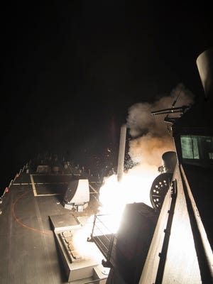 USS Ross (DDG 71) fires a tomahawk land attack missile towards Syria. USS Ross, an Arleigh Burke-class guided-missile destroyer, forward-deployed to Rota, Spain, is conducting naval operations in the U.S. 6th Fleet area of operations in support of U.S. national security interests in Europe and Africa.