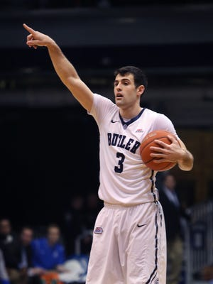 Butler's Alex Barlow directs the Bulldogs' offense against Creighton on Jan. 21, 2015 at Hinkle Fieldhouse. Butler won 64-61.