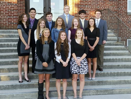 The 2015 Delone Catholic Homecoming Court is shown. Riley Vingsen (Miss Freshman), left, Alexis Wierman (Miss Sophomore), center, and Maria Elser (Miss Junior), right, are pictured in the front row. Miss Seniors are pictured in the second row, from left: Alyssa Alberghini, Skye Blackwell, Emily Ernst, Aleigha Fuhrman, and Kate Mowrey. Mr. Seniors are pictured in the third row, from left: Joseph Cassella, Daniel Coleman, John Mall, Thomas Plummer, and Woodrow Wagaman. Miss Delone and Mr. Delone (from the Senior Class) will be announced at the football game Oct. 16.