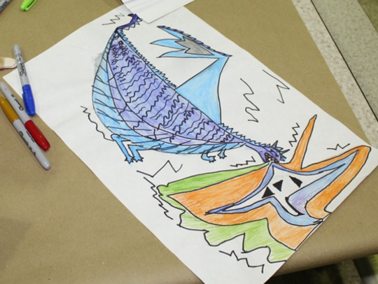 This dragon drawing was among artwork created during