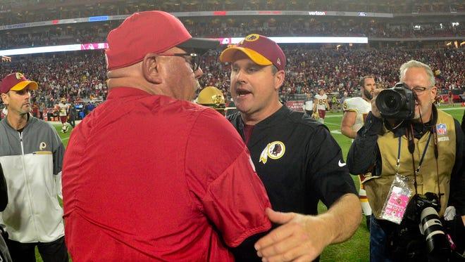 Arizona Cardinals head coach Bruce Arians and Washington Redskins head coach Jay Gruden face off on Sunday.