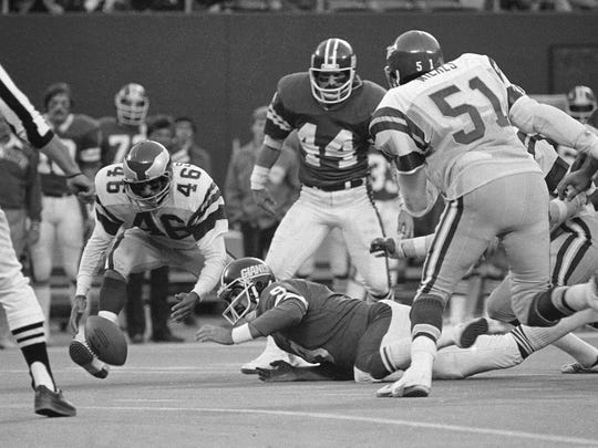 On Nov. 19, 1978, the Eagles' Herman Edwards pounces on the ball just fumbled by Giants quarterback Joe Pisarcik and goes in for the score and the Eagles won 19-17.