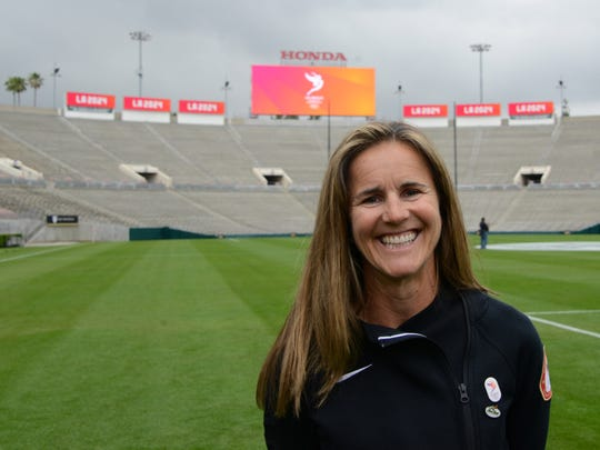 Brandi Chastain poses at the Rose Bowl in May. The