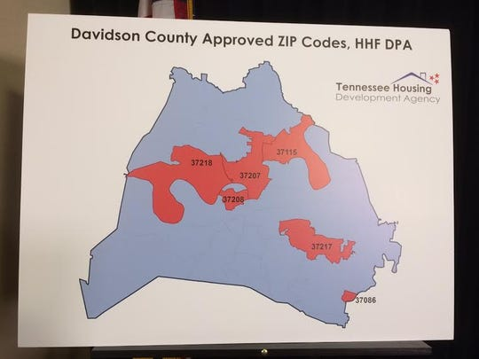A map showing eligible zip codes in Davidson County where homebuyers can apply for the downpayment assistance program.
