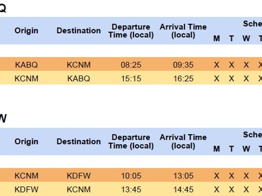 Shown is the new flight schedule out of Carlsbad to Albuquerque (ABQ) and Dallas/Fort Worth (DFW), effective Nov. 1.