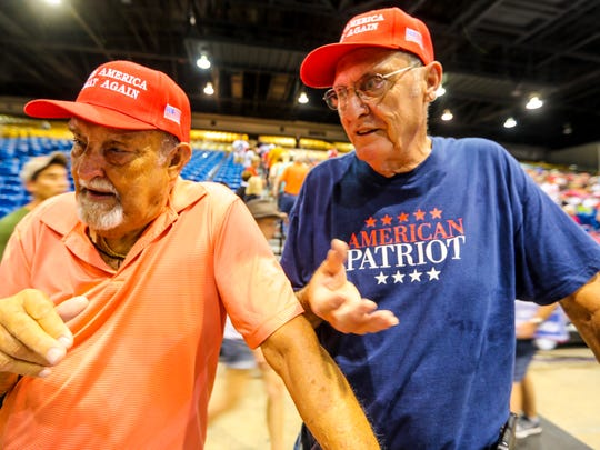 "Larry Kestner, 80 and Steve Kestner, 73, talk about what broth them out. What some are calling the ""Red Wave"" of President Trump supporters showed up strong for President Donald J. TrumpÕs Make America Great Again Rally at the Florida State Fair Grounds, Expo Hall, Tampa, Florida, July 31, 2018."