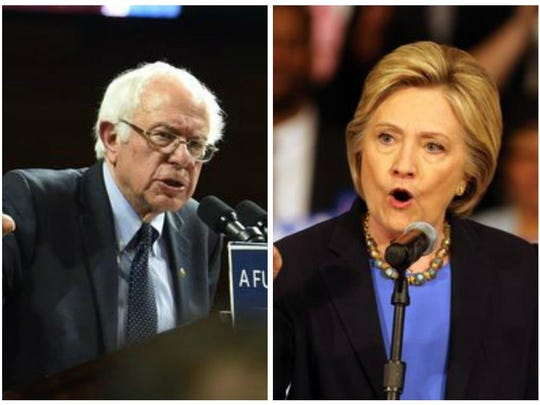 Democratic presidential candidates Bernie Sanders, left and Hillary Clinton, right