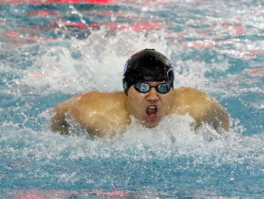 Shoonhsin Li of Horseheads swims to a win in the 100-yard