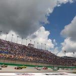 Sun beats down on Kentucky Speedway during the Quaker State 400, in 2013 postponed to Sunday because of rain.