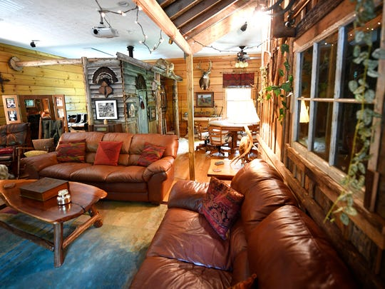 Several rooms are available for sitting including this rustic room.Jimmy and Amanda Sites have their unique home available on Craigslist for $4,990 for June 2-June 6  given soaring demand for June with the Stanley Cup Final and CMA Fest. Thursday June 1, 2017, in Hendersonville, TN